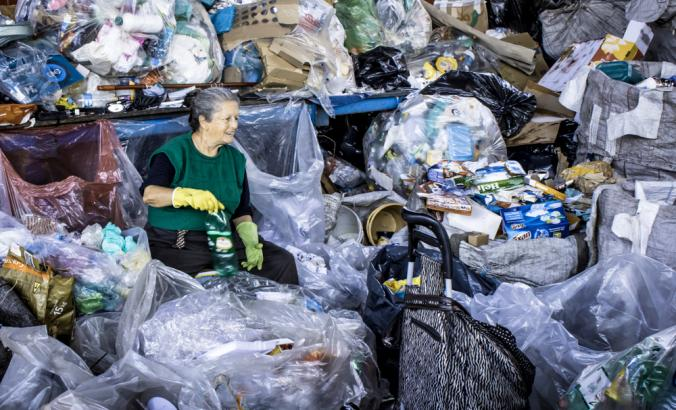 Waste picker in the Glicerio neighborhood of Sao Paulo
