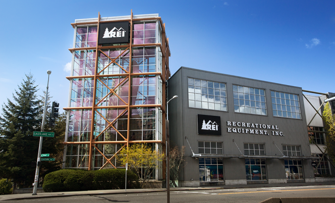 A shot of and REI storefront in Seattle.