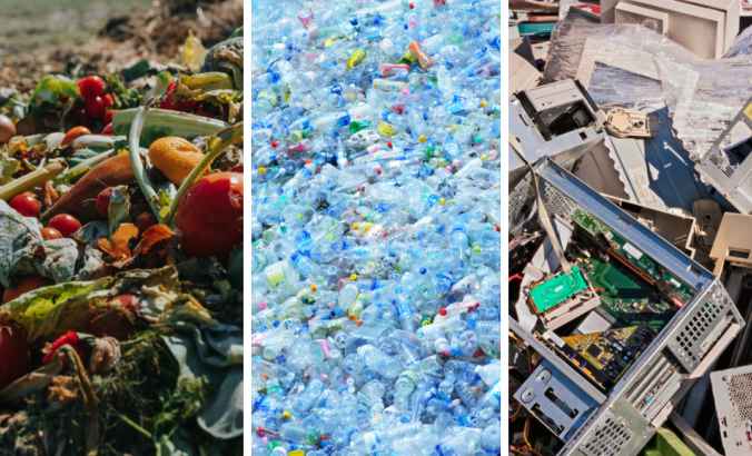 Three column image shows three different types of waste. From left to right, food waste, plastic waste and electronic waste