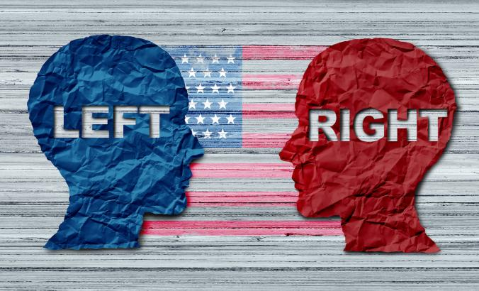 political illustration representing left and right of the spectrum