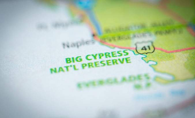 Big Cypress National Reserve shown on map
