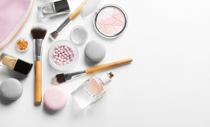 Cosmetics on a counter
