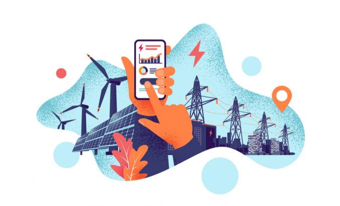 Illustration: Hands holding mobile cell phone with electricity energy usage smartphone monitoring app. Sustainable renewable power plant battery storage with solar panels, wind.
